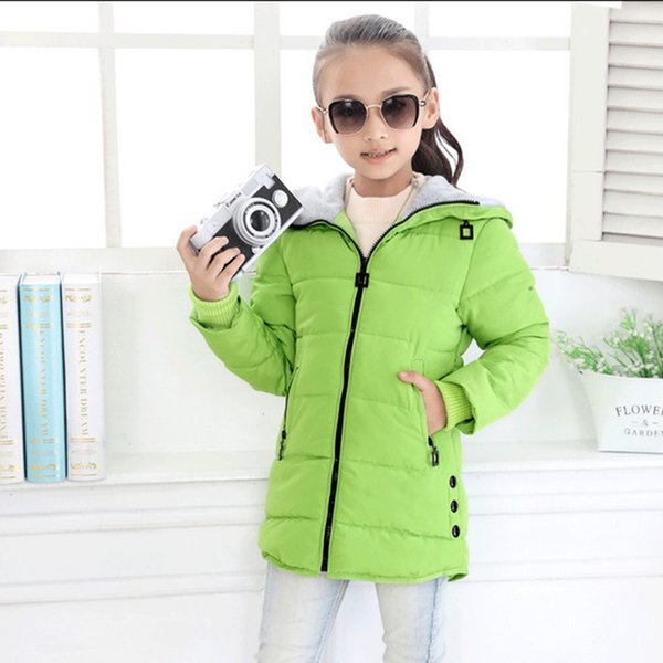 children winter jackets for girls fashion children clothing Kids Hooded Coat Thicken parkas down cotton-padded outerwear