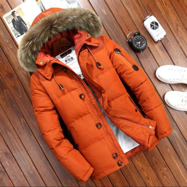 Herren Daunenjacke Winter Herren Short Fell Kapuze Vier Farbe erhältlich Duck Down dicken Pelzkragen Men Outdoor-Winter-warmer Mantel XL Tide