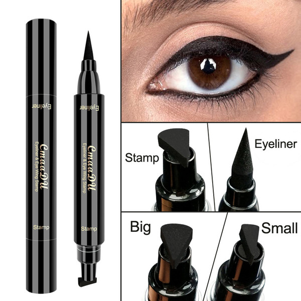 best selling CmaaDu Wing Stamp Eyeliner Waterproof Double Head Makeup Eyeliner Stamp Big and Small Two Size for Select