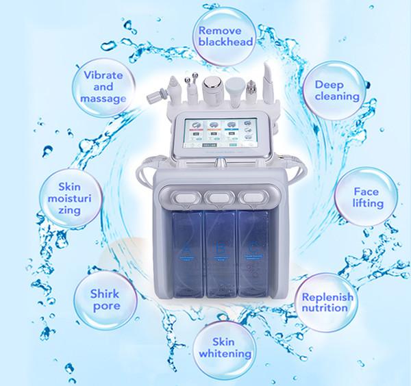 6 en 1 H2-O2 máquina de belleza RF con ultrasonido de la cabeza fría Martillo Equipo Hydrodermabrasion oxígeno Jet piel facial Care Device uso en el hogar