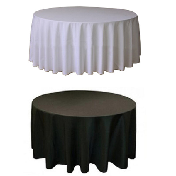 10PCS Polyester Round White Tablecloth For Wedding Hotel Table Cloth Table Cover Overlay tapetes nappe mariage Tablecloth Black