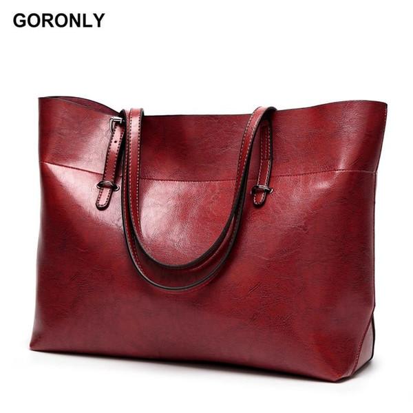 GORONLY Brand Leather Tote Bag Women Handbags Female Designer Large Capacity Leisure Shoulder Bags Fashion Ladies Purses Bolsas