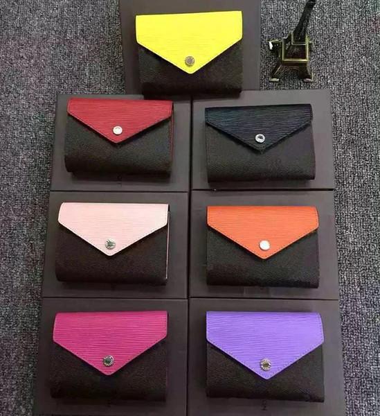 Toptan Tasarımcı Cüzdan deri renkli sikke çanta kısa cüzdan Polychromatic çanta bayan Kart sahibinin klasik mini fermuarlı cebi