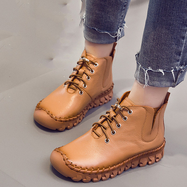 jrnnorv handmade ankle boots with fur retro boots shoes women fashion handmade slip-on soft leather winter warm ladies - from $44.00