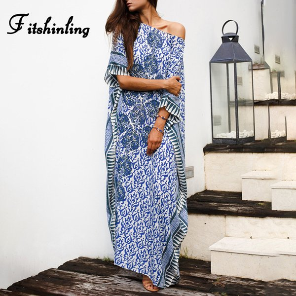Fitshinling Big size bohemian long dress female holiday print batwing sleeve sexy hot vintage maxi dresses for women pareos sale