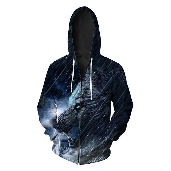 Men Zipper Hoodie Wolf Head 3D Graphic Full Print Man Zip Hooded Sweatshirt Unisex Casual Hoodies Long Sleeves Sweatshirts Tops (R408)