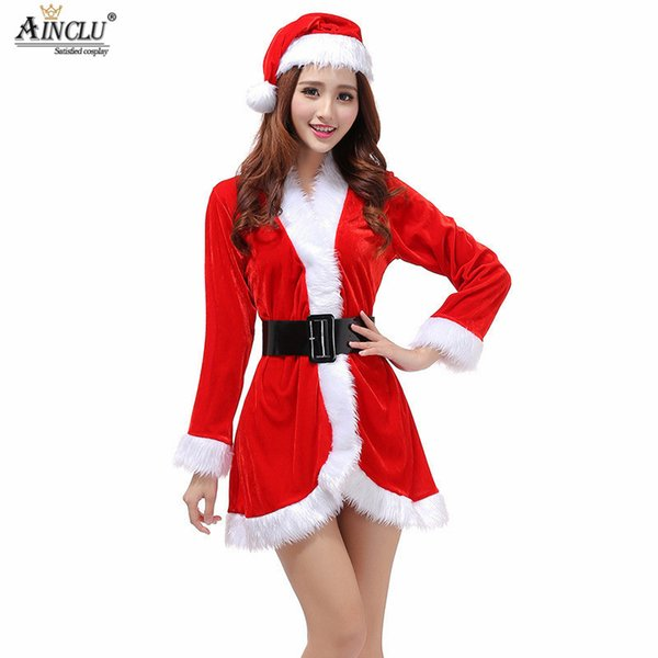 Fashion Christmas Dresses Women Clothes Sexy Santa Claus Halloween Cosplay Red Pleuche Long Sleeve One Piece Hat Belt Dress