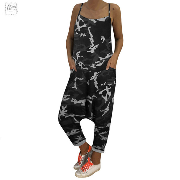 Womens Fashion Camouflage Long Jumpsuits Ladies Beach Loose Regular Lace Up Harem Casual Pants Summer Rompers Plus Size