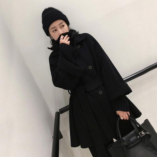 Yeni Sıcak Uzun Yün Karışımı Bayanlar Coat Gevşek Kruvaze kadın Ceket Tam Kollu Kore Bayan Moda Ceket