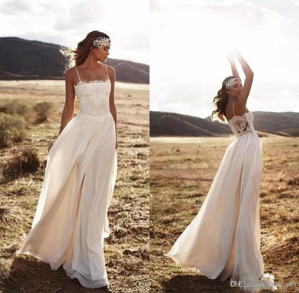 2019 elegante bohemian lace praia vestidos de casamento espaguete a line chiffon até o chão vestidos de noiva simples barato vestidos de casamento plus size