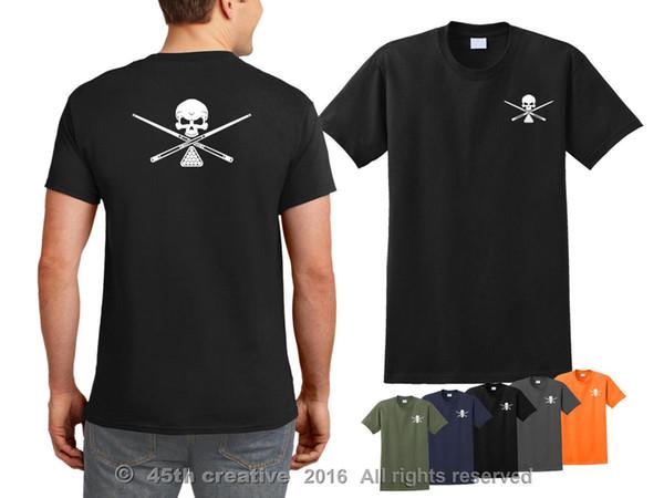 2019 Nouveau T-shirt en coton T-shirt de billard - t-shirt tête de billard tête de mort tête de billard pool shark Tee-shirt style été