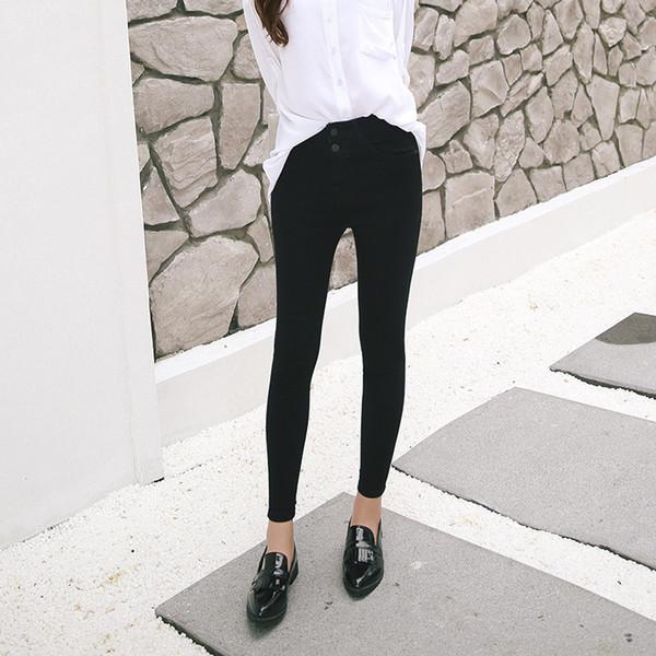Primavera-verano de estilo coreano talle alto de las mujeres de los pantalones vaqueros de doble abotonado-Plus de tamaño Stretch Slim Fit adelgaza flaco lápiz