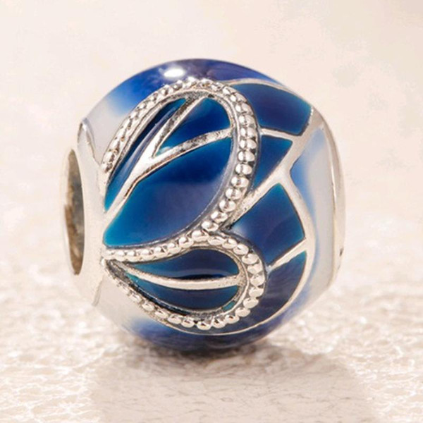 Dropshipping charme Beads pulseira jóias borboleta-asa Fit Pandora 925-Sterling-Silver Blue Mulheres