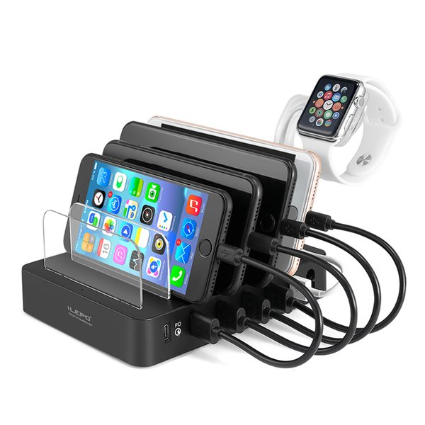 iLepo 105W USB-C Charging Station 45W 5 porte USB caricabatterie per telefono QC3.0 per iPhone Samsung 60W USB PD caricabatterie Type-C per laptop Macbook