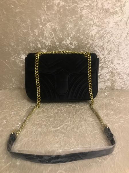 2018 TOP Fashion black chain makeup bag famous luxury party bag Marmont velvet shoulder bag Women designer bags Free shiopping #5118