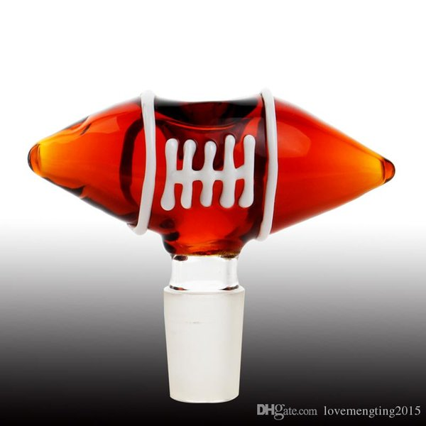 14mm 18mm Rugby Desgin Glasschale Dry Herb Bowl Tabakschalen Ash Catcher für Glasbongs Wasserpfeifen Dab Rig