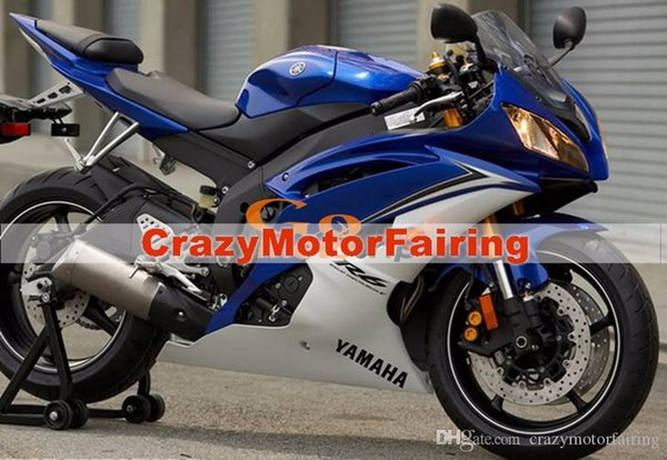 3 Free gifts New Injection ABS Fairing Kits 100% Fitment For YAMAHA YZF-R6 06-07 YZF600 2006 2007 R6 bodywork set blue and white