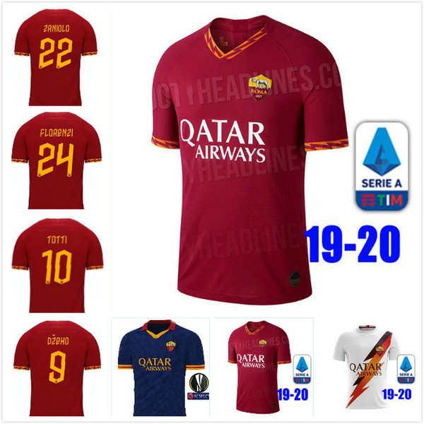 Thai quality 2019 2020 ROMA jersey 19 20 rome TOTTI DE ROSSI DZEKO SOCCER JERSEYS EL SHAARAWY PASTORE AS football shirt