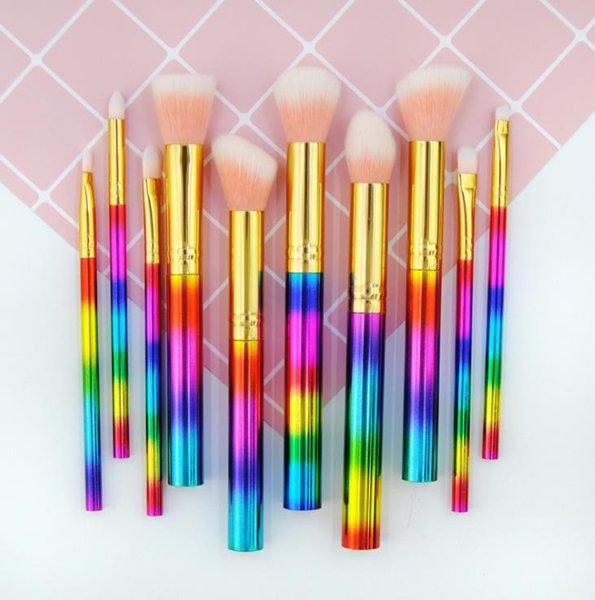 Pincéis de maquiagem glitter para fundação em pó sombra delineador labial marca-texto cosméticos escova ferramentas 10 pcs maquiagem conjunto de escova