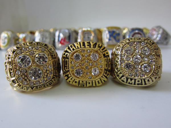 3pcs 1987 1988 1990 EDMONTON OILERS STANLEY CUP CHAMPIONS RING Set Men Sport Fan Souvenir Gift Wholesale 2019 DropShipping