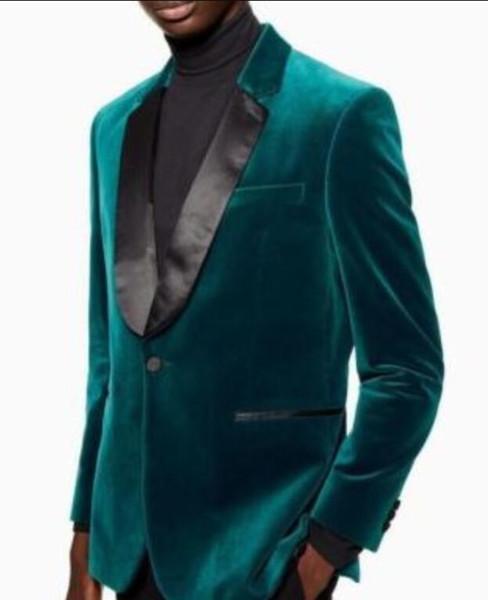Customize Velvet Wedding Groom Tuxedos Notch Lapel Men Suits 2 pieces for Wedding Prom Dinner Blazer (Jacket+Pants+Tie) One Button Man Suit