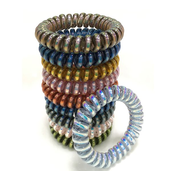 Fashion Shiny Hair Coil Ties Girls Women Rubber Hair Bands Rope Rings Telephone Wire Cord Gum Hair Tie Bracelet Stretchy Scrunchy