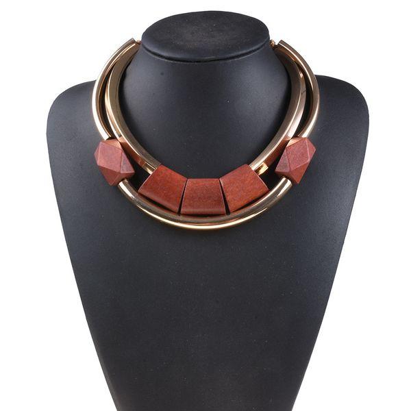 New Vintage Exaggerated Choker Collana per donna Lega collare di legno Collana Personalità Gioielli Regali Collier Femme