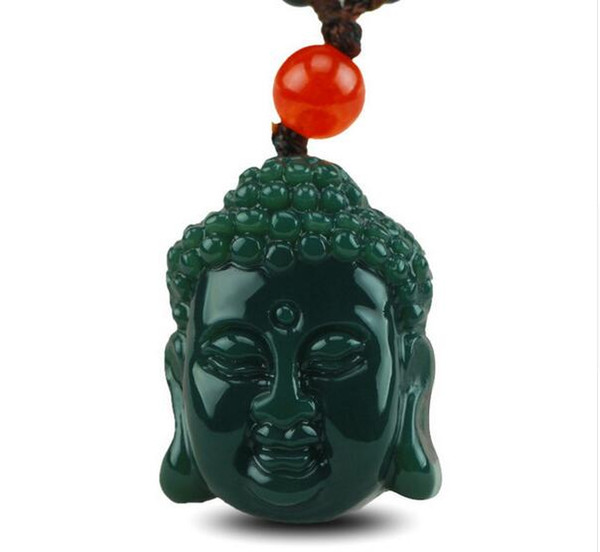 Natural genuine Hetian jade hand-carved Buddha head pendant necklace natural green jade pendant jewelry gifts