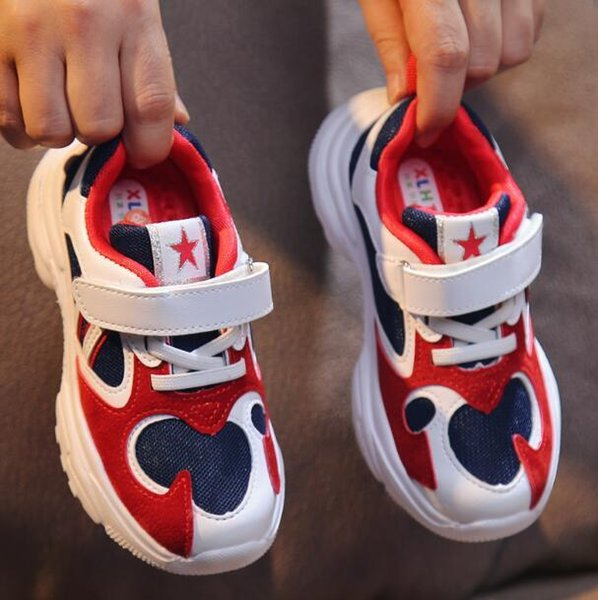 Çocuk içi boş örgü nefes bahar ve yaz yeni erkek ve kız spor ayakkabı toptan ve perakende 422-21