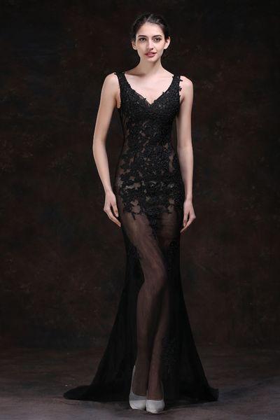 Sexy Evening Dresses 2019 Perspective Models Slim Fish Tail Dresses Nightclub Sexy Deep V-Neck Tattoo Prom Long Dresses