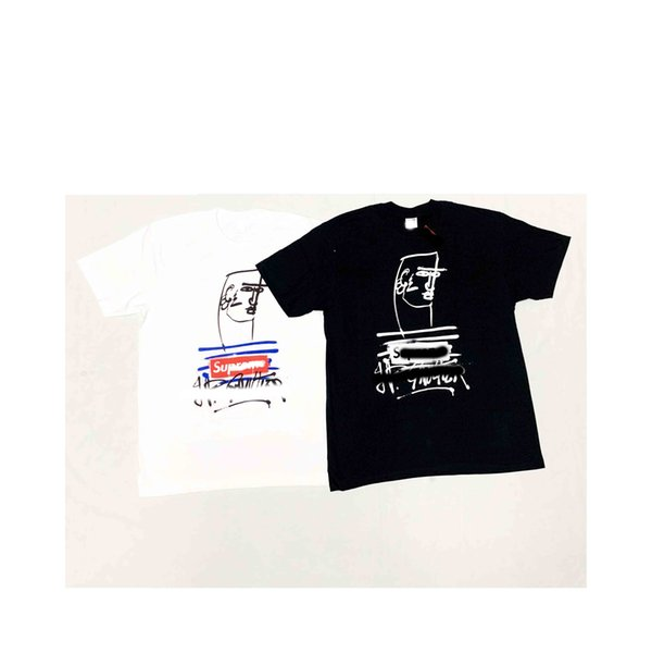Diseñador de Marca Camiseta Nueva Pintura Abstracta Carta de Personalidad Casual Joker Top Algodón Cuello Redondo Hombre y Mujer Pareja de manga corta