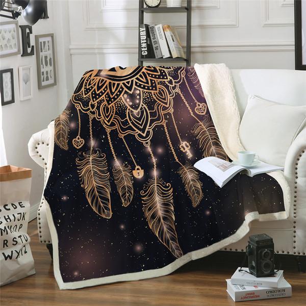 Eye Dreamcatcher Throw Blanket Galaxy Bohemian Sherpa Fleece Beds Blanket Cozy Velvet Plush Sofa Plaid cobertor