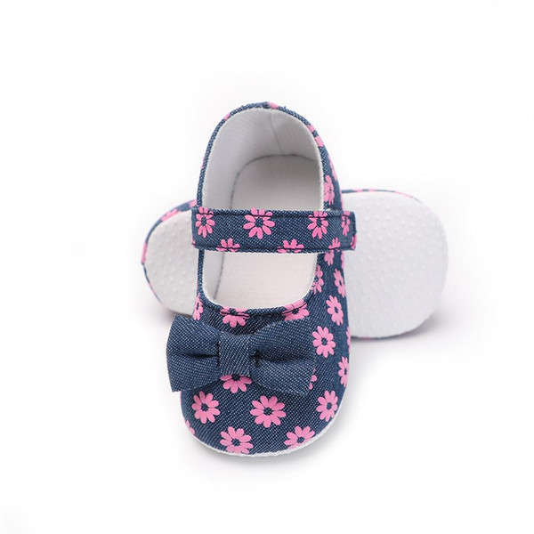 Newborn Baby Princess Party Girl Shoes Fashion Flowers Canvas Big Butterfly-knot Anti-slip Prewalker Spring Shallow Shoes