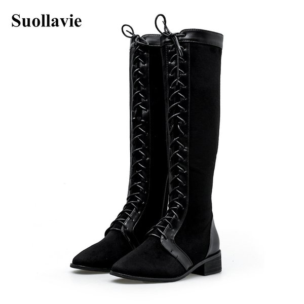 Suollavie 2019 Winter Knee High Boots Square Heels Leather Boots Women Female Ladies Fashion Sexy Shoes Size 35-43