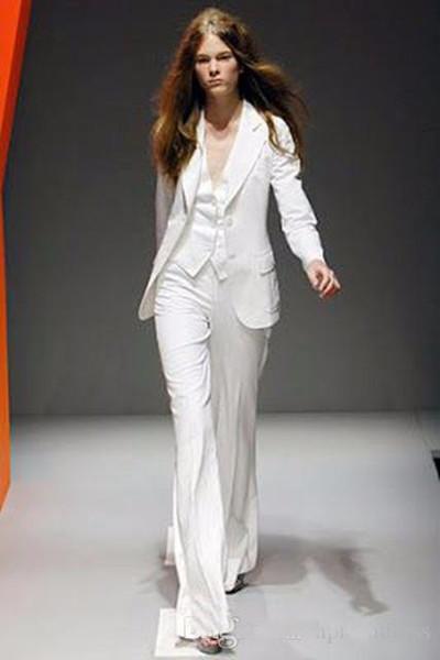 2019 Neueste Weiß Büro Uniform Designs Frauen Anzug Slim Fit Damen Formale Hose Anzüge Blazer Weibliche Hose Set 3 Stück Benutzerdefinierte