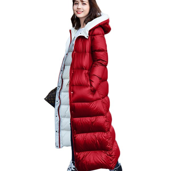 1feef878da01 Winter Women Down Jacket High quality Hooded Cocoon Long Fashion White duck down  Outerwear Female Thickening