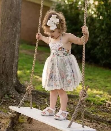 Bohemian lace floral dress for toddler little girl country sundress summer party wedding birthday size 12month to 7 years old