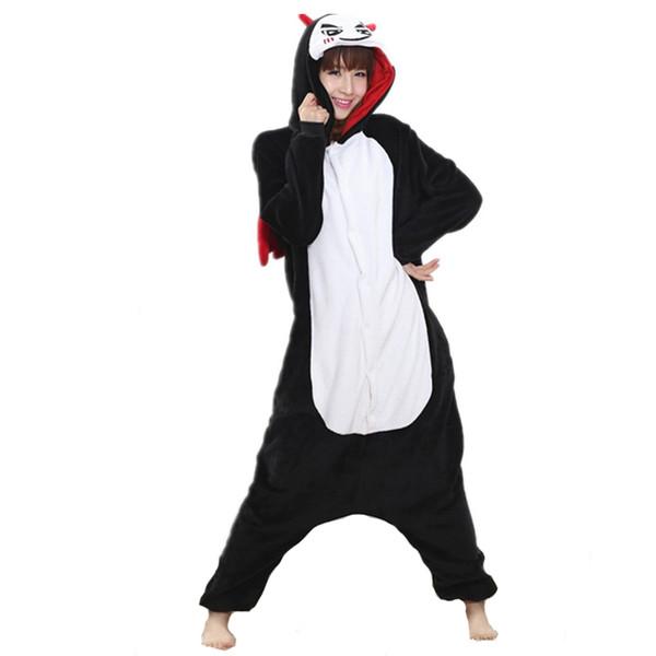 Engraçado Diabo Preto Kigurumi Flanela Macia Uma Peça Pijama Quente Demônio Onesie Halloween Para Adultos Traje Do Partido Cosplay Pijamas