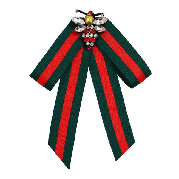Red and Green Striped Neck Bow Tie Bolo Fancy Bee Cloth Fabric Bowties Women Dress Party Womans Clothing Fashionable