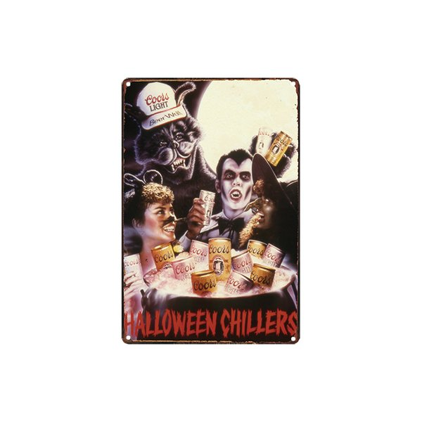 classic vintage HALLOWEEN CHILLERS this is your beer HIGH LIFE BEER biere gallia tin sign Coffee Shop Bar Wall decor Bar Metal Paintings