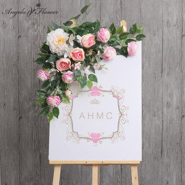 DIY props wedding welcome card flowers hotel water creative sign floral decor road lead flores artificial wall arch