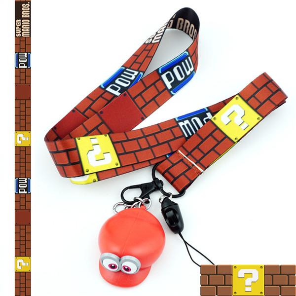 Süper Mario Bros kauçuk Şekil Anahtarlık kordon kimliği rozeti tutucu Kolye Anahtarlık Charms Cep Telefonu Sapanlar cosplay Aksesuarları