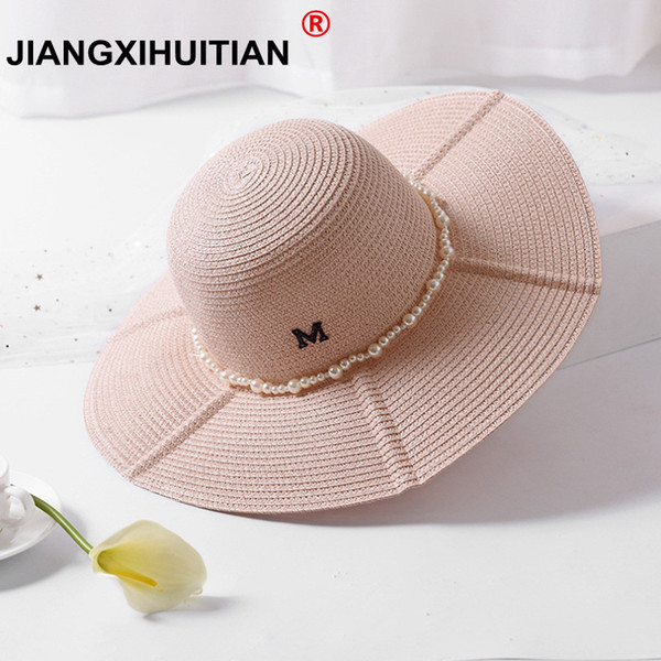High Quality Summer M logo Sun Hats for Women Solid Large Brimmed Sun Hats Black White Floppy Hats with Pearls Ladies Beach Hat