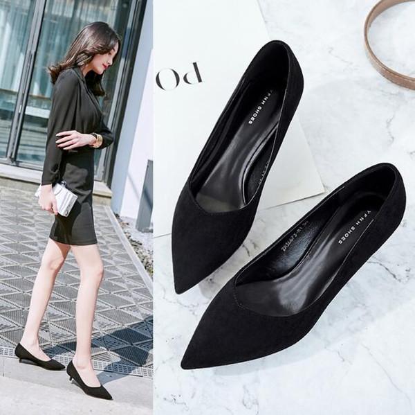 Femmes Black Office Career Chaussures de travail à talons hauts Bout pointu chaussures habillées Stiletto Slip-On bouche peu profonde Femmes Prom Chaussures de Noël