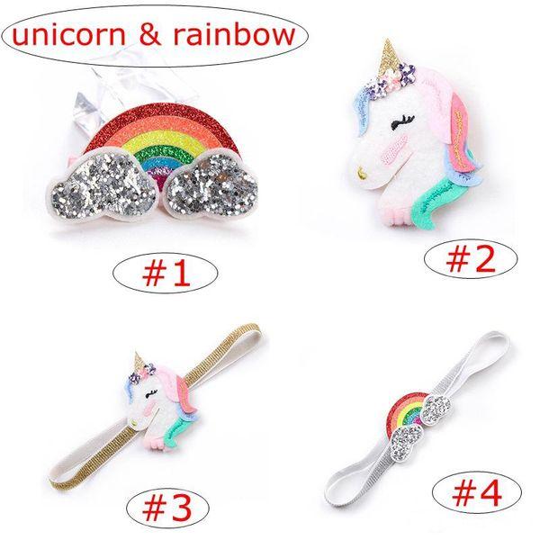 7 styles Newest Unicorn Kids Headband Clips Baby Girls Cartoon Rainbow Hairband Hairpins Barrettes set for Kids Unicorn Horn Party Hair Acce