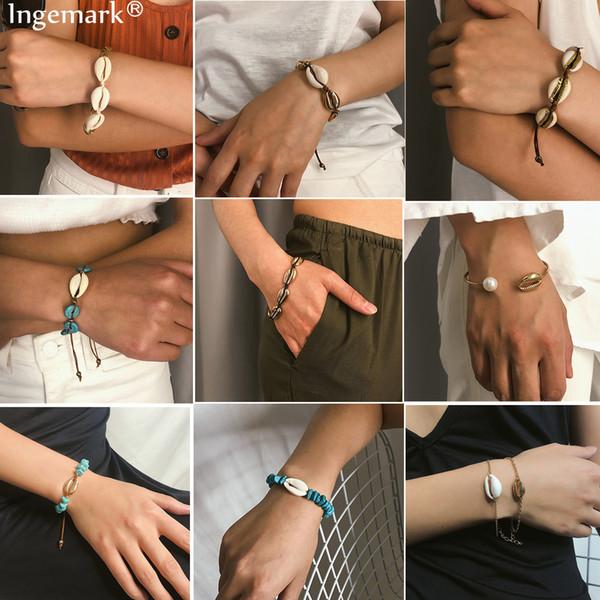 heap Chain & Link Bracelets 16 Styles Boho Natural Sea Shell Bracelet Bangle Summer Beach Accessories Korean High Quality Cowrie Brac...