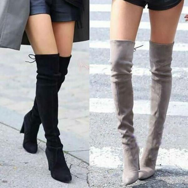 Mode Faux Femmes Bottes En Daim Mince Femmes Bottes D'hiver Femmes Cuisse Haute Sexy Sur Le Genou Chaussures D'hiver Plus La Taille