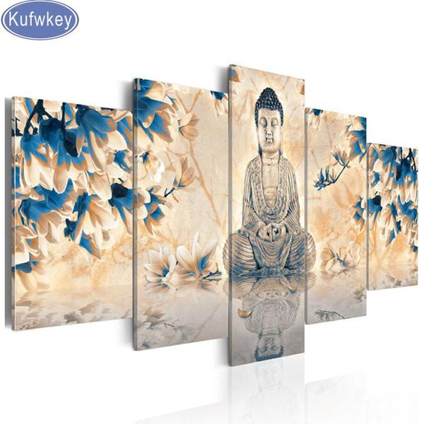 5 stücke moderne magnolia blume buddha 5d diy diamant malerei voller quadratmeter diamant set stickerei mosaik wand dekoration kunst
