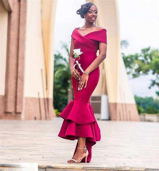 Elegant 2019 African Bridesmaid Dresses Off The Shoulder Neckline Mermaid High Low Crimson Satin Modern Maid Of Honor Dresses For Weddings Cute