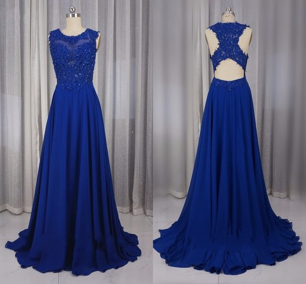 Royal Blue Chiffon Lace Prom Dresses Formal 2019 Applique Beaded Sequins Special Occasion Dress Evening Gowns Formal Party Sheath Long